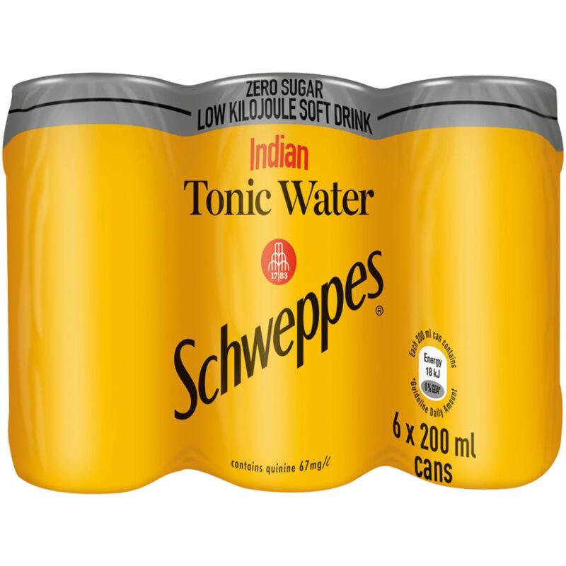 SCHWEPPES SOFT DRINK INDIAN TONIC ZERO SUGAR – 200ML X 6
