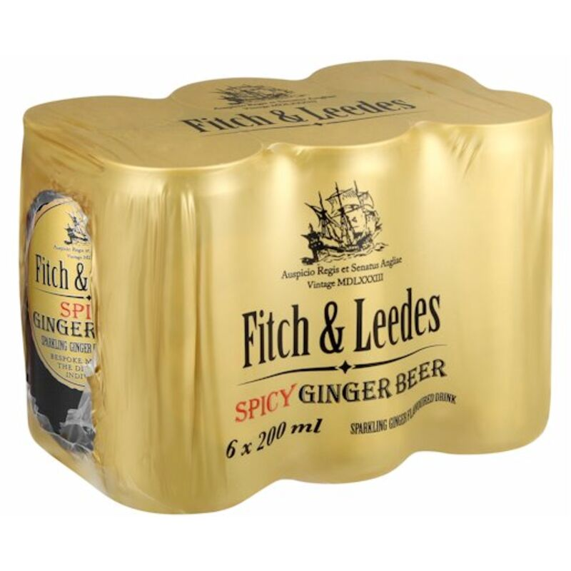 FITCH & LEEDES GINGER BEER CAN – 200ML X 6